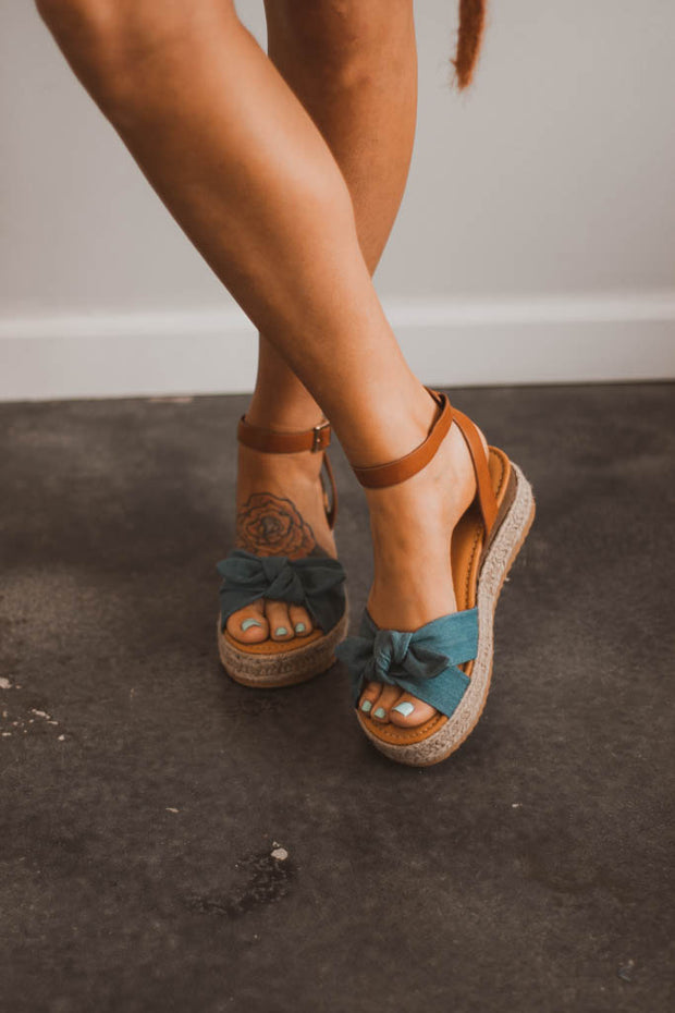 Denim Bow Sandals