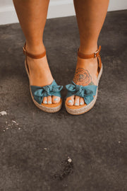 Denim Bow Sandals  Roselynn's