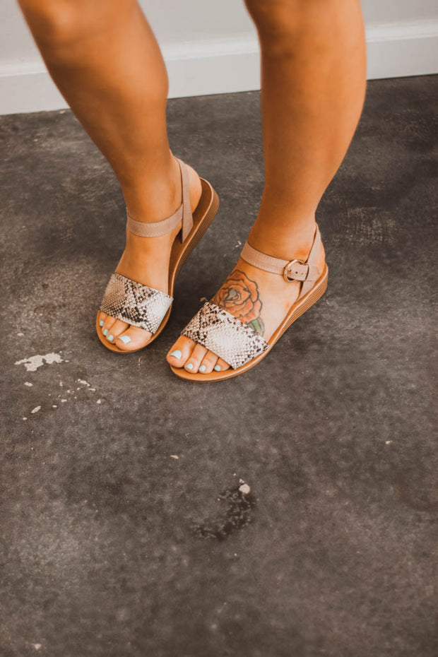 Snake Blush Sandals  Roselynn's