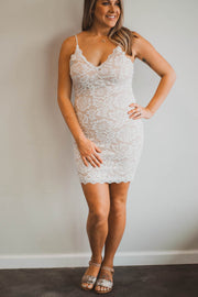 Ivory nude lace dress  Roselynn's