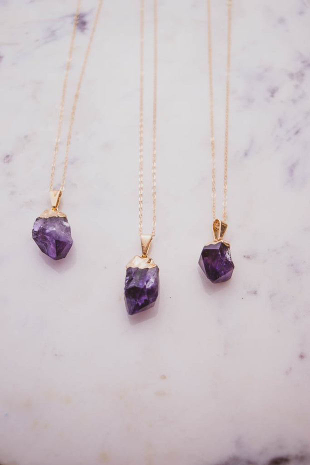 Petite Raw Amethyst Necklace