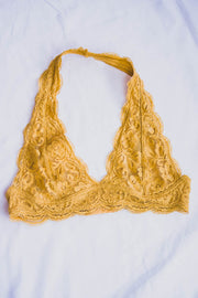 Lace Halter Bralette (Honey Gold)  Roselynn's