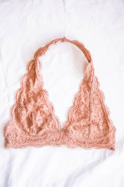 Lace Halter Bralette (Dusty Blush)  Roselynn's