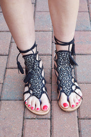 Black Sparkle Lace Up Gladiator Sandals  Roselynn's
