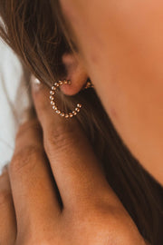 14k Gold Filled Beaded Hoop Earrings