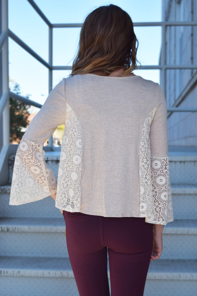 Ivory Beige Lace Long Sleeve Top  Roselynn's