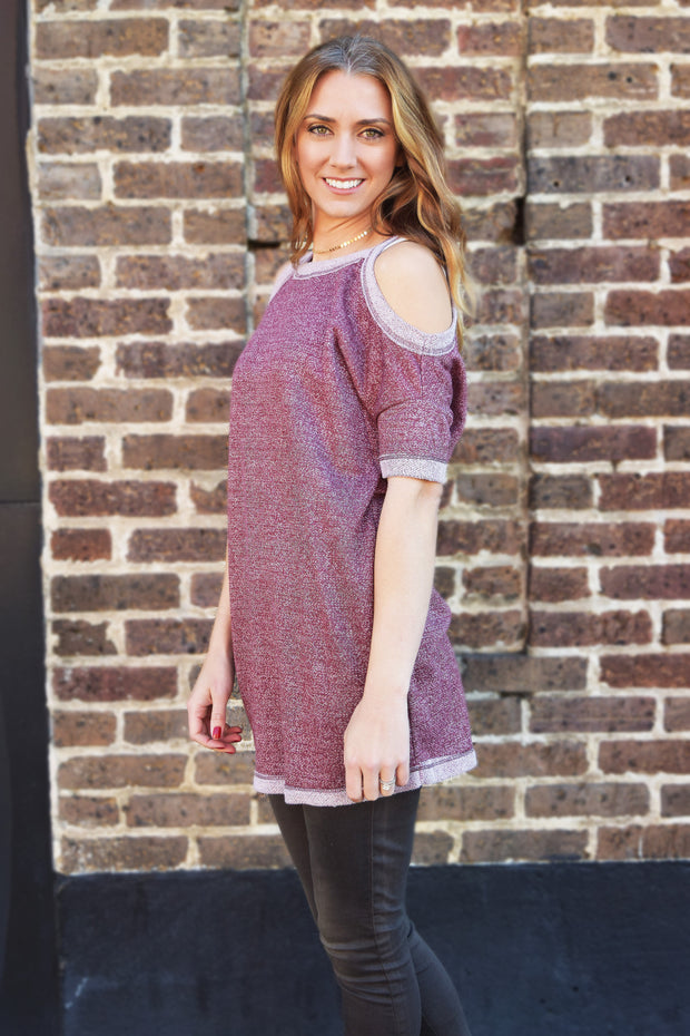 Burgundy Cold Shoulder Sweatshirt Top  Roselynn's