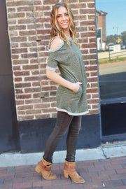 Olive Cold Shoulder Sweatshirt Top  Roselynn's