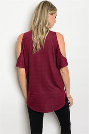 Burgundy Lace Up Tee  Roselynn's
