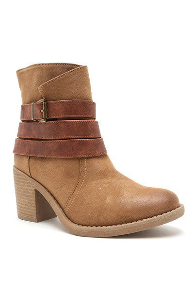 Camel Buckle Bootie  Roselynn's