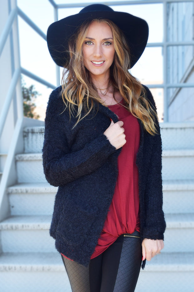 Cozy Black Cardigan  Roselynn's