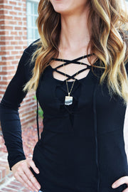 All In The Detail Criss Cross Long Sleeve Top  Roselynn's