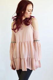 Bohemian Dusty Rose Cold Shoulder Top  Roselynn's