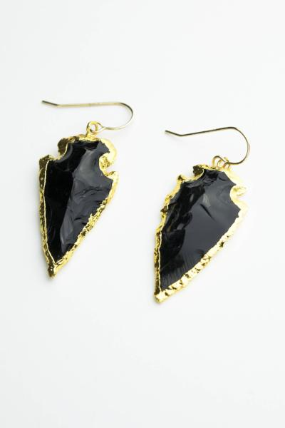 Obsidian Arrowhead Earrings  Roselynn's