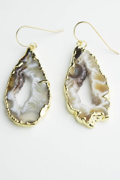 Natural Geode Druzy Dangle Earrings  Roselynn's