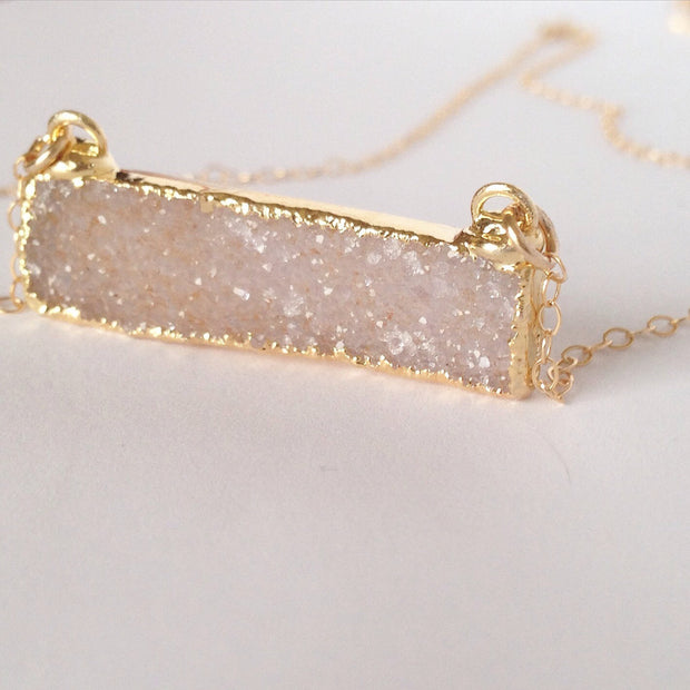 Druzy Bar Necklace  Roselynn's