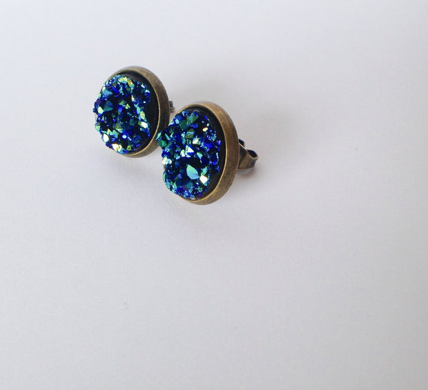 Blue Druzy Earrings (bronze posts)  Roselynn's