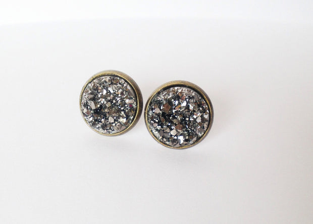 Charcoal Druzy Earrings (bronze posts)  Roselynn's