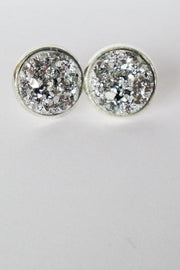 Silver Druzy Stud Earrings  Roselynn's