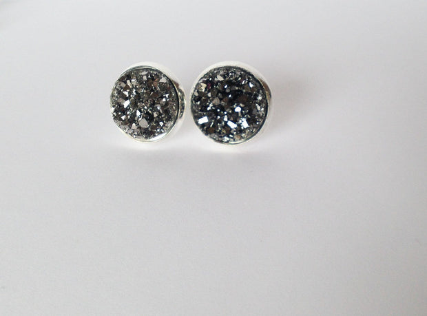 Silver Druzy Earrings  Roselynn's
