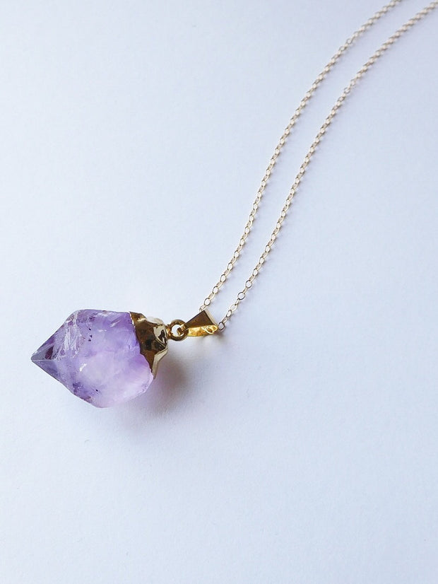 Raw Amethyst Necklace  Roselynn's