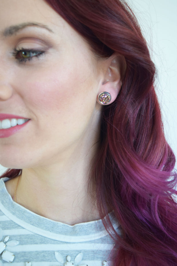 Rose Gold Druzy Earrings (silver posts)  Roselynn's