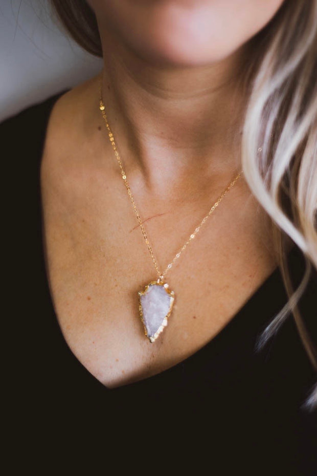 Rose Quartz Arrowhead Necklace