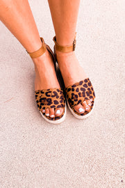 Leopard Scallop Wedge Sandal
