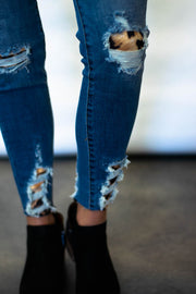 Kan Can Leopard Distressed Skinny Jeans  Roselynn's