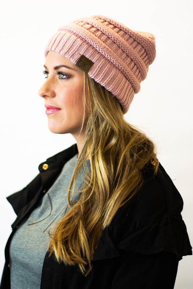 Indi Pink fitted CC beanie  Roselynn's