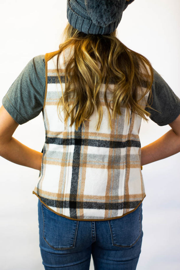 Cream plaid vest  Roselynn's
