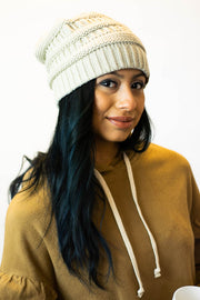 Beige Fitted CC Beanie  Roselynn's