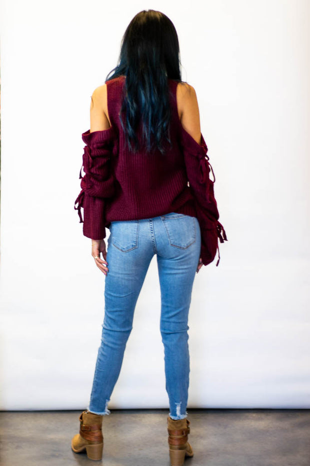 Wine Cold Shoulder Sweater  Roselynn's