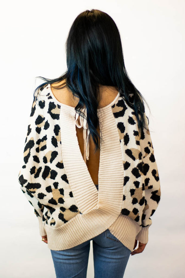 Leopard print open back sweater  Roselynn's