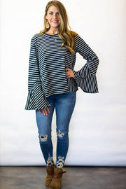 Navy striped bell sleeve top  Roselynn's