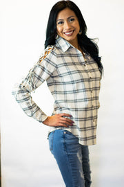 Lace Up Plaid Top  Roselynn's