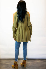 Olive Cold Shoulder Top  Roselynn's