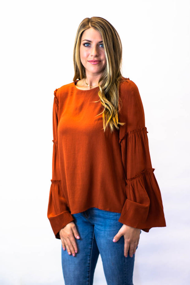 Rust Bell Sleeve Top  Roselynn's