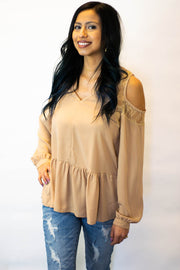 Taupe Lace Peplum Top  Roselynn's