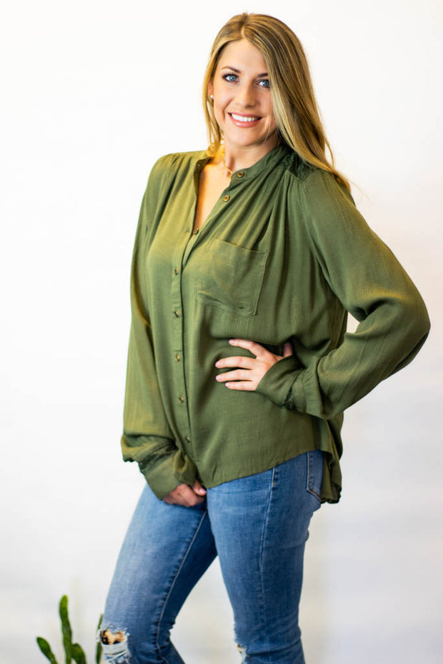Olive Crochet Button Up Top  Roselynn's