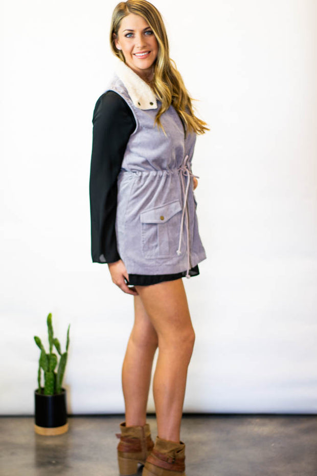 Grey lace up utility vest  Roselynn's