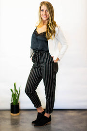 Black Striped Paper Bag Pants  Roselynn's