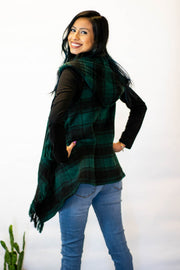 Green Plaid Hooded Fringe Vest  Roselynn's
