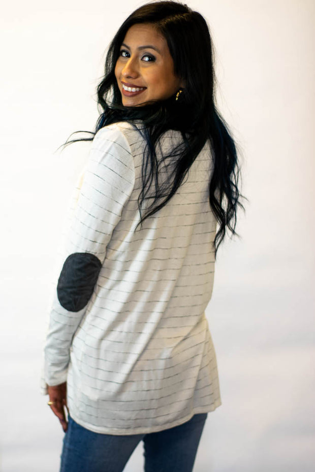 Ivory Gray Striped Cardigan  Roselynn's