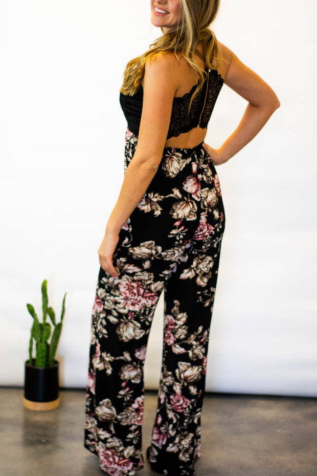Ophelia Lace Open Back Floral Jumpsuit  Roselynn's