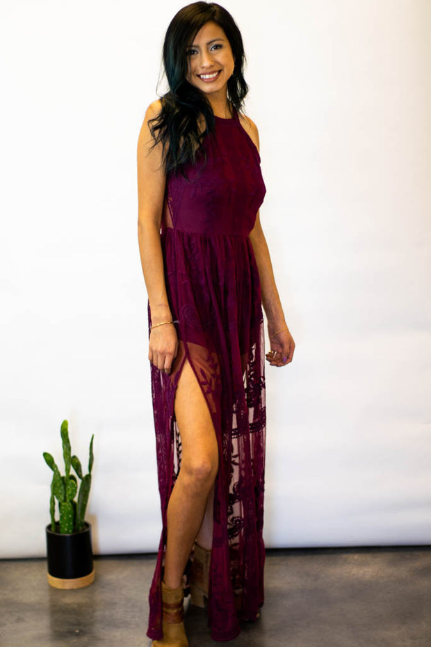 Olivia Lace Romper Maxi Dress (Wine)  Roselynn's