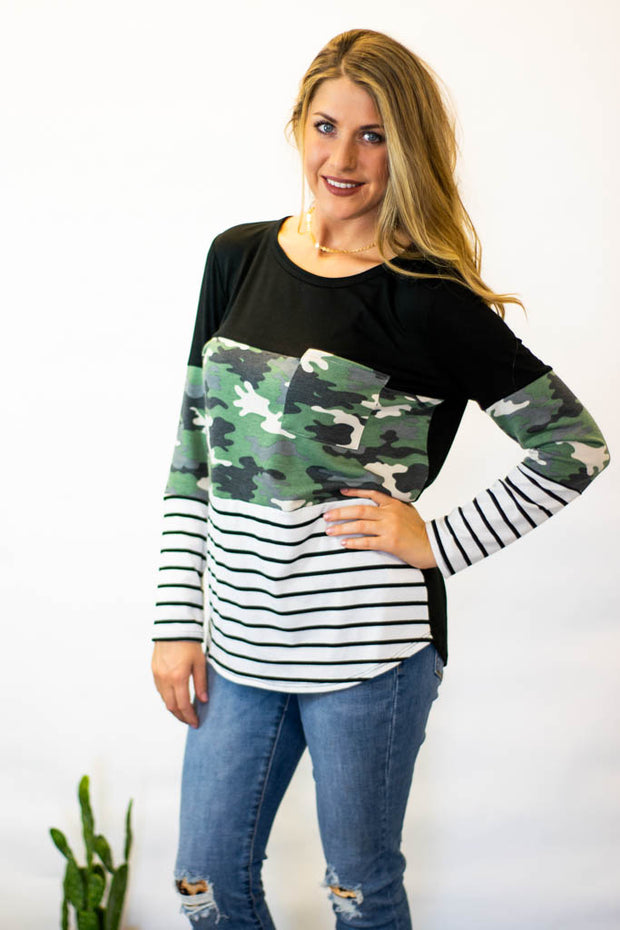 army camo striped long sleeve top  Roselynn's