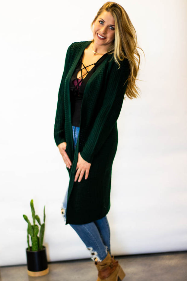 Let's Get Cozy Cardigan -Hunter Green  Roselynn's