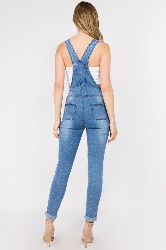 Amy Light Wash Distressed Moto Overalls  Roselynn's