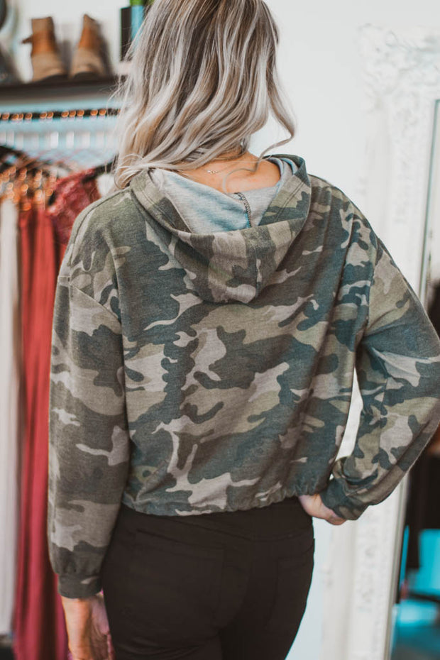 Camo cropped hoodie  Roselynn's